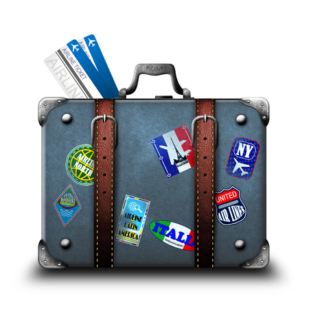 Suitcase and airline tickets