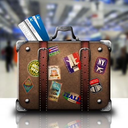 leather bag: Suitcase and airline tickets