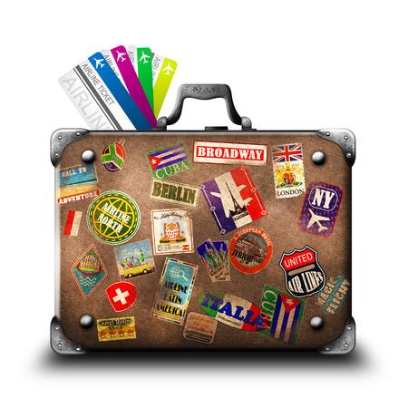 スーツケースや航空会社のチケット
