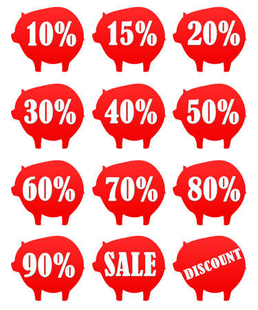 money box:  Stickers money box  Piggy Stock Photo
