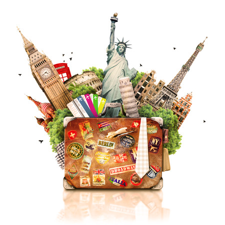 tourist vacation: Viaggi, turismo collage con le attrazioni del mondo e la valigia Archivio Fotografico