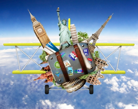 Travel, tourism collage with world attractions and suitcase flying on an airplane photo