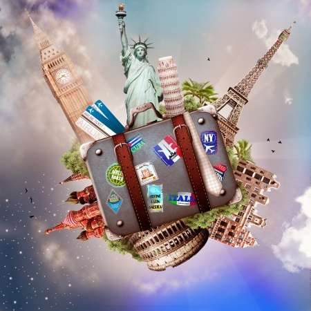 Travel, tourism collage with world attractions and suitcase