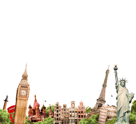 Travel, tourism collage with the world s sights photo