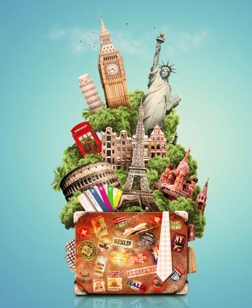 viagem: Viagens, colagem turismo com vistas do mundo s