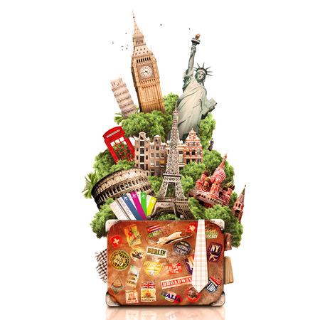 cestovní: Cestování, turistika koláž s celým světem s památkami