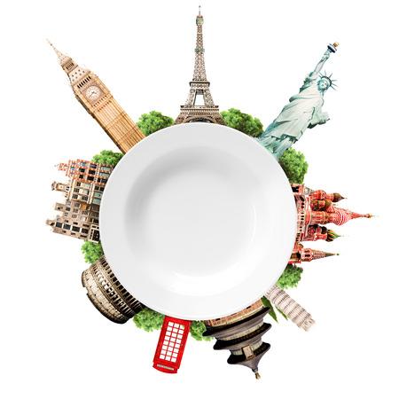여행, 관광, 세계 관광 명소로 콜라주와 빈 흰색 접시 스톡 콘텐츠