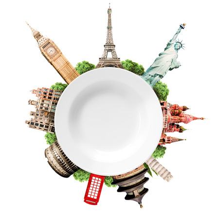 Reizen, toerisme collage met wereld attracties en een lege witte plaat