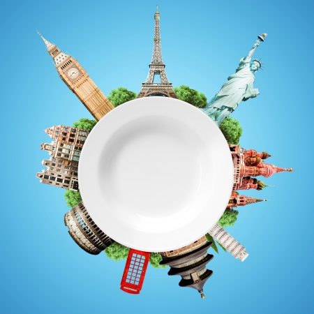 Travel, tourism collage with world attractions and a blank white plate Stock Photo