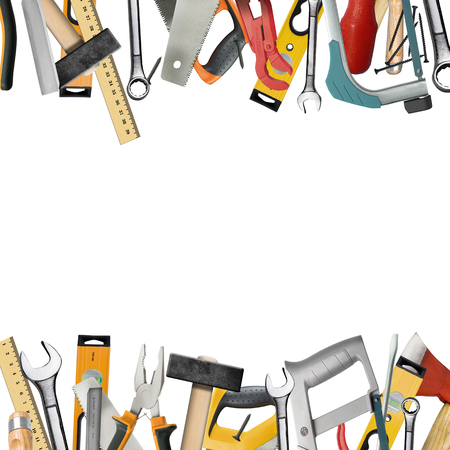 Tools of the carpenter, locksmith for household works on a white background photo