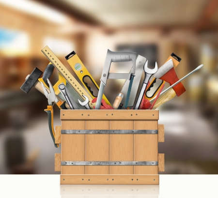 Tools of the carpenter, locksmith for household works in a wooden box Stock Photo