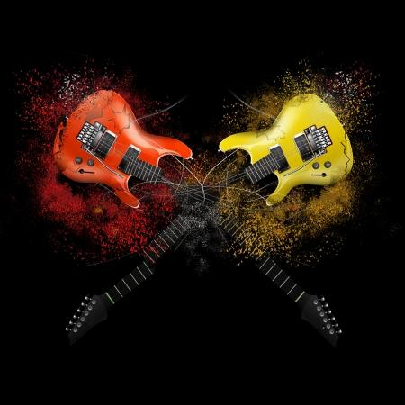 Collage van muziek met gebroken electro gitaren, rock muziek
