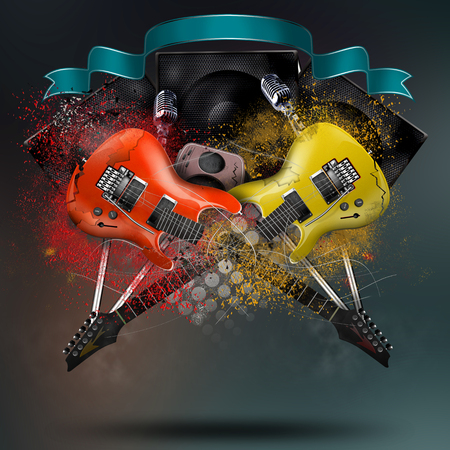 Collage of music with broken electro guitars, rock music photo