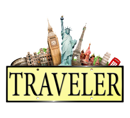Traveler sign with iconic landmarks