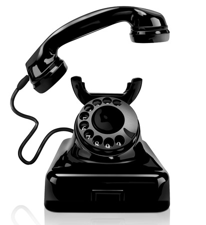 Black vintage telephone on a white background, isolated photo