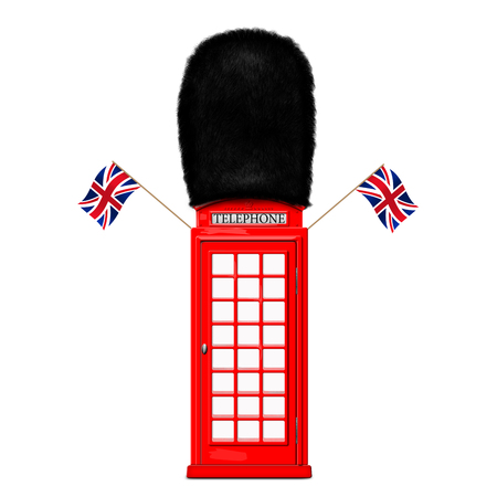 telephone booth: Red telephone booth in the guards cap and with British flags Stock Photo