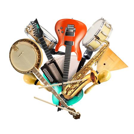 Muziekinstrumenten, orkest of een collage van muziek Stockfoto
