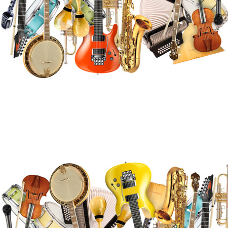 orquesta: Instrumentos musicales, orquesta o un collage de la música