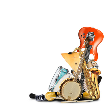 Musical instruments, orchestra or a collage of music Stock Photo