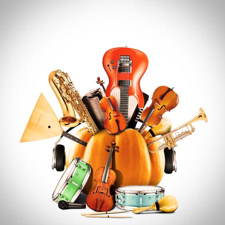 Collage aus Musik, Jazz-Band und Musikinstrumente