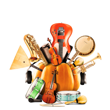 Collage of music, jazz band and musical instruments