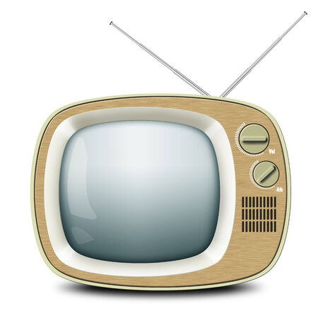 Retro TV with an antenna, wooden Cabinet, vintage photo