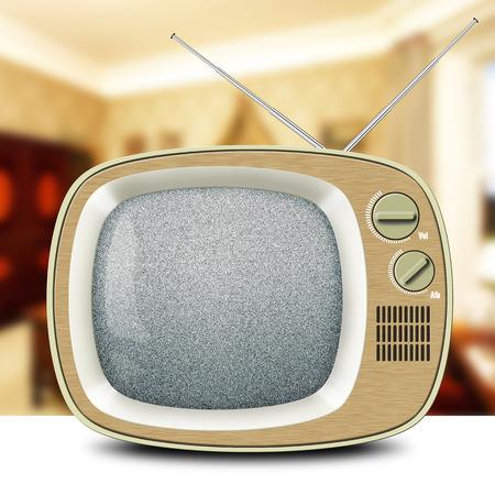 Retro TV met een antenne, houten kabinet, vintage Stockfoto