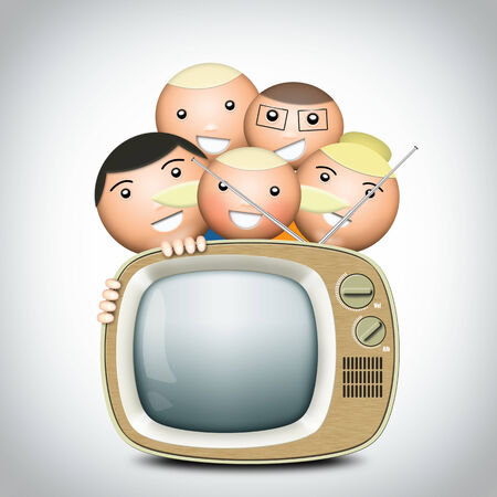 Retro TV and funny family with an antenna photo