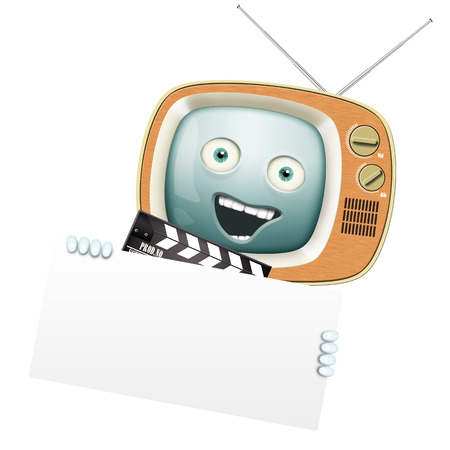 Funny retro TV and clapper, movies and series photo