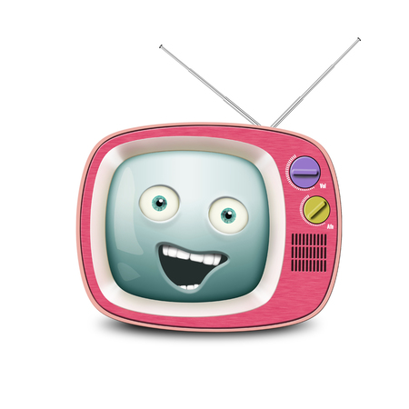 telly: Funny retro TV, alive and smiling telly Stock Photo