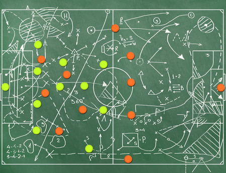 tactic:  Football field with markings coaching setting for the game