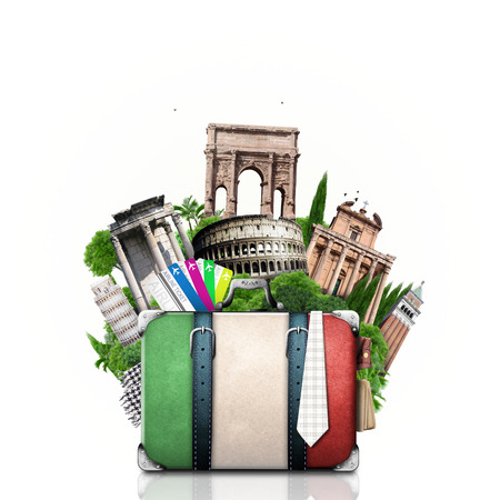 Italia, Italia y atracciones maleta retro, viaje Foto de archivo - 27321642