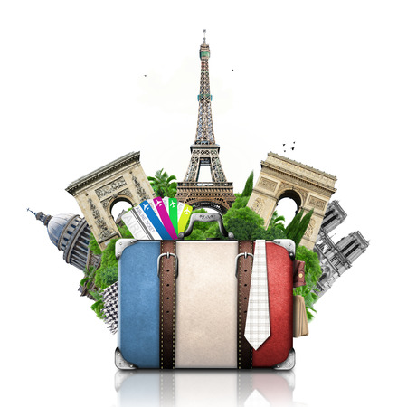France and attractions of Paris, retro suitcase, travel