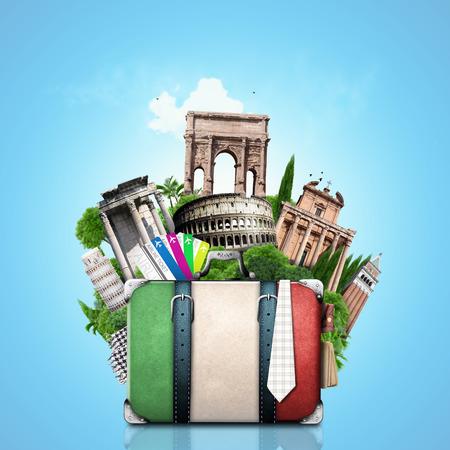 Italia, Italia y atracciones maleta retro, viaje Foto de archivo