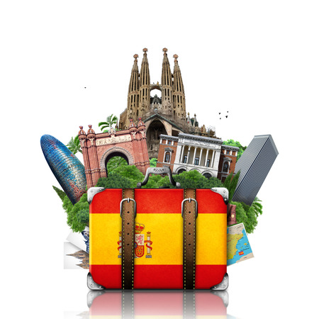 Spain, landmarks Madrid and Barcelona, travel suitcase Фото со стока