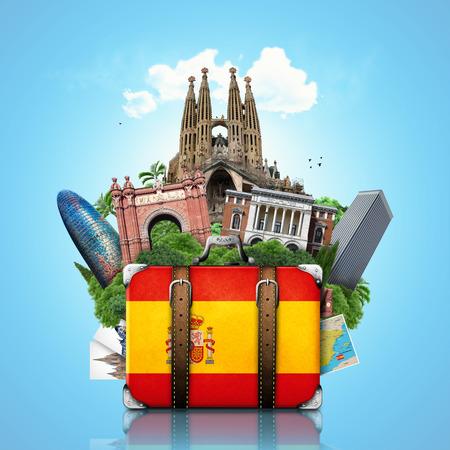 Spain, landmarks Madrid and Barcelona, travel suitcase Stock Photo