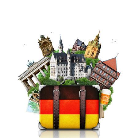 Germany, German landmarks, travel and retro suitcase Stock Photo