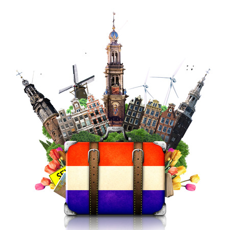 Holanda, Amsterdam hitos, los viajes y la maleta retra Foto de archivo
