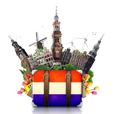 Holland, památek Amsterdam, cestovní a retro kufr