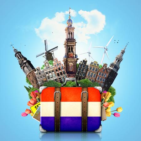 Holland, oriëntatiepunten Amsterdam, reizen en retro koffer Stockfoto