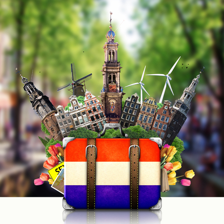 Holland, Amsterdam landmarks, travel and retro suitcase photo