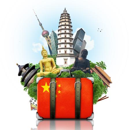 China, China landmarks, travel and retro suitcase