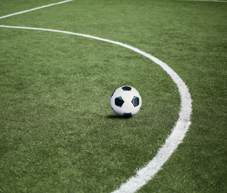 football pitch: Football pitch with the ball, sports background