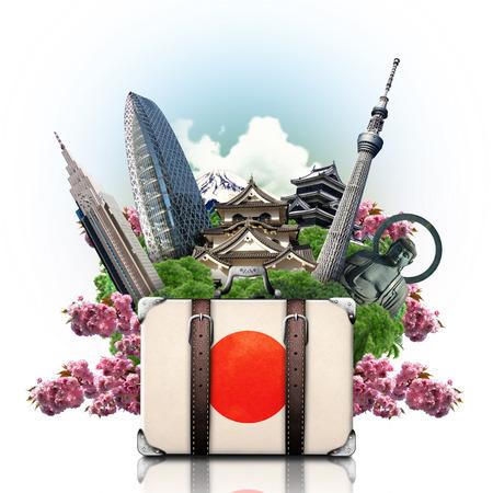 Japan, japan landmarks, travel and retro suitcase Фото со стока
