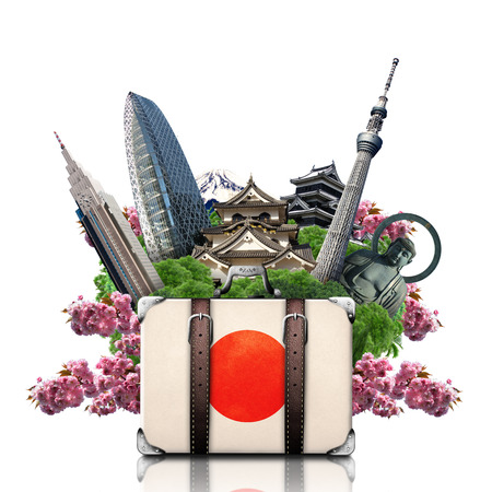 Japan, japan landmarks, travel and retro suitcase Stock Photo