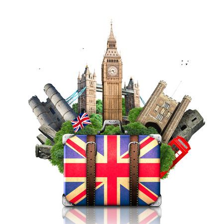 Engeland, Britse oriëntatiepunten, reizen en retro koffer Stockfoto