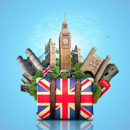 イギリス、イギリスのランドマーク、旅行、レトロなスーツケース