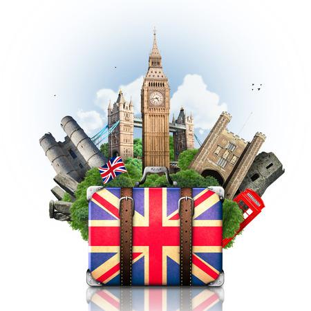 England, British landmarks, travel and retro suitcase photo