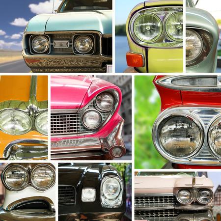 Classic cars, retro automobile collage, bumper and headlights photo