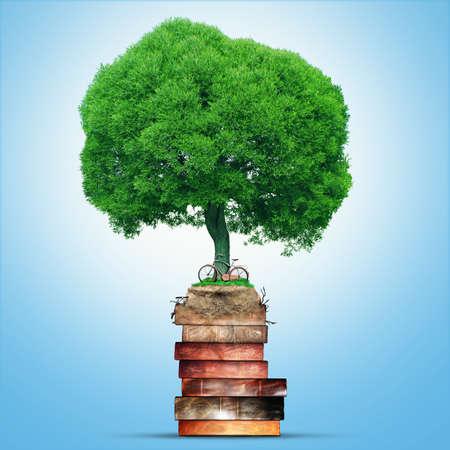knowledge tree: Tree of knowledge, old vintage books, symbol education